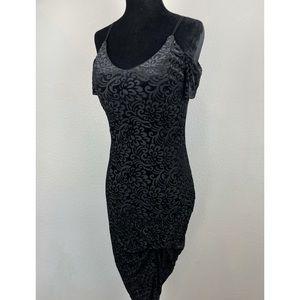 GUESS • Black Floral Velvet Burnout Dress